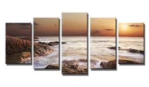 amazon wieco art the rocky sea 5 panels seascape canvas prints wall art sea beach pictures paintings for living room bedroom kitchen home office  on cheap canvas wall art amazon with amazon wieco art the rocky sea 5 panels seascape canvas prints