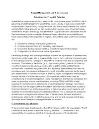 research paper on project management and it governance