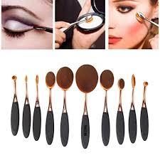 yoseng 10 pcs new fashionable super soft oval toothbrush makeup brush set foundation brushes contour