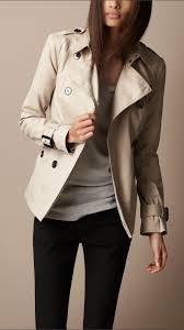 burberry short cotton gabardine pin tuck trench coat