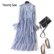 <b>Young Gee</b> Floral Lace <b>Spring</b> Summer Dress <b>Women</b> O Neck Flare ...