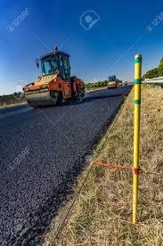 Guide Rail Road Roller Rolls Freshly Laid Asphalt Road Construction