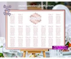 Rose Gold Seating Chart Printable Rose Gold Seating Plan Printable 114