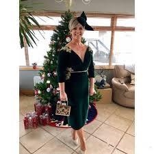 Velvet Green Sheath Mother Of The Bride Dresses 2020 V Neck 3 4 Long Sleeve Gold Applique Short Wedding Guest Gowns Evening Prom Dress Jade Couture