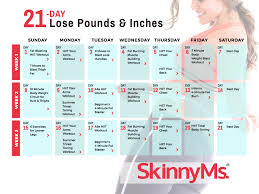 Weight Loss Calendar 21 Day Lose Pounds Inches Calendar