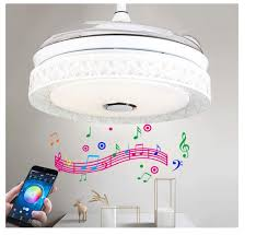 details about us 42 ceiling fan light w bluetooth speaker remote control mute invisible fan