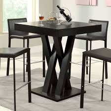 Tall Square Kitchen Table Set Modern Tall Dining Table Square Top Dark Cappuccino Finish