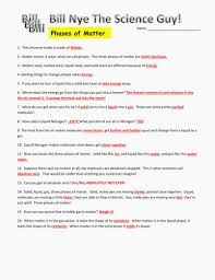 bill nye the science guy phases of matter worksheets lovely bill nye phases matter worksheet amusing