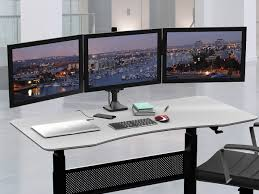 workstream by mono triple monitor gas spring mount for up to 32 34 screens