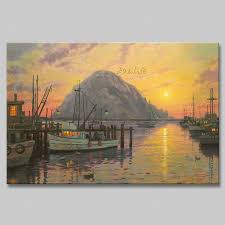 find more painting calligraphy information about framed thomas kinkade oil paintings morro bay at sunsetr