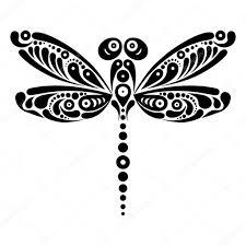 Krásná Vážka Tetování Umělecký Vzor Ve Tvaru Motýla Stock Vektor