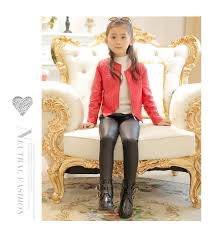 new fashion winter thick fleece warm girls leggings skinny black kids leather pants baby girls pu