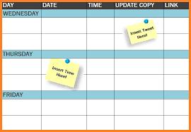 Free Schedule International Free Template Social Media Publishing Schedule