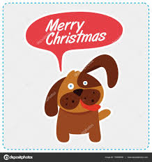 Cute dog christmas message. Vector ...