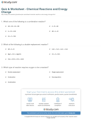 print common chemical reactions and energy change worksheet