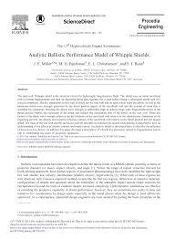 Whipple Shield Design Analytic Ballistic Performance Model Of Whipple Shields
