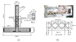 dimension details of test specimen for a details of frame structure b details of steel truss in this design the magnitude of the shear strength