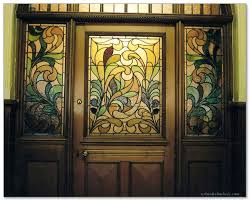 stained glass door with stained glass side windows with fl pattern