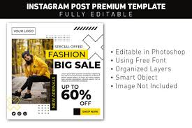 The home of free fonts since 1998. Instagram Post Big Sale Fashion Graphic By Ant Project Template Creative Fabrica
