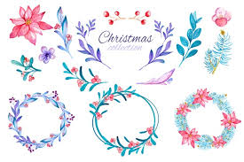 Free Vector   Watercolor <b>christmas flower</b> and wreath collection