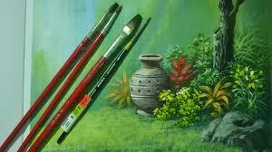acrylic landscape painting lesson vase in the garden by jm lisondra
