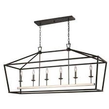 lacey 6 light black and brushed nickel pendant
