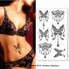 Nu Taty černý Velký Motýl Dočasné Tetování Na Tělo Umění Rameno