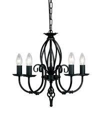 artisan 5 light black chandelier elstead lighting