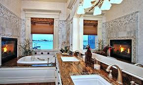 modern master bathroom with fireplace and drop in tub source zillow digs