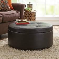 ... Coffee Table, Round Leather Storage Ottoman Coffee Table Round Storage  Ottoman Brown Faux Leather Wood ...