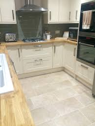 Floor Kitchen Burford Cream Kitchen From Howdens Oak Worktops Sage Tiles With