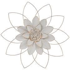 white gold flower metal wall decor