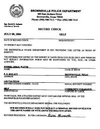 Criminal Record Template No Criminal Record Form Police Letter