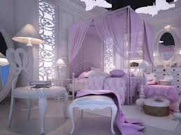 Luxurious Bedroom Decorating Idea In Purple Theme Metal Bed Furniture With  Lighter Purple Bed Curtain Lighter