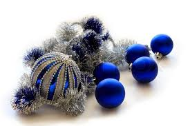 Blue Christmas balls with silver tinsel in isolation on a white background.  | Stock Photo | Colourbox
