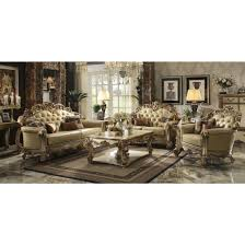 acme vendome furniture living room sets in gold patina and bone