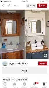 Modernized Rv Vanity Camper Trailer Remodel Diy Camper Remodel Camper Bathroom