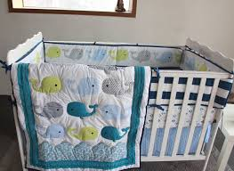 stylish 8 piece boy ba bedding set cartoon whale nursery quilt per nursery bedding sets plan