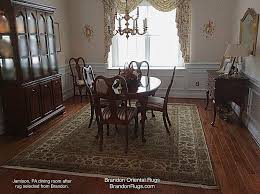 in the before and after images seen here of a dining room in jamison pa now graced by a real hand knotted oriental rug from brandon oriental rugs