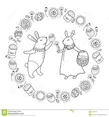 outline of bunny vector happy easter card with outline easter rabbit couple egg