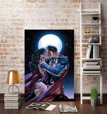 2017 no frame superman and wonder woman kiss hd canvas print wall