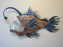 anglerfish angler fish deep sea ocean metal wall stainless intended for most popular stainless steel fish