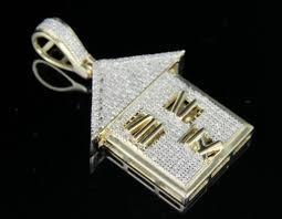 men s 10k yellow gold real diamond custom trap house pendant charm 1 2 ct 1 4