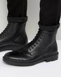 asos lace up boots in black scotchgrain leather with toe cap