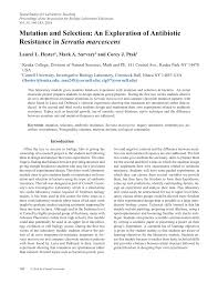 mutation and selection an exploration of antibiotic resistance in mutation and selection an exploration of antibiotic resistance in serratia marcescens pdf available