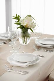 white table settings. An Off-white Runner Is Layered On Top Of The White Tablecloth. Slight Table Settings E