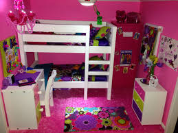 American Girl Doll Bedroom Sets White Wooden Loft Bed Pink Wall ...