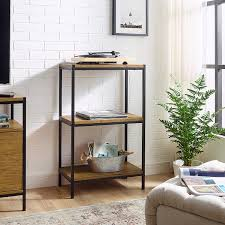Rustic Design Company 3 Tier Bookshelf By Caffoz Furniture Designs Rustic Industrial Bookcase With Modern Open Shelves Oak Brown Wood Look Accent Furniture Metal Frame