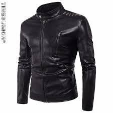 timesunion black faux leather biker jacket men pu leather moto jacket man er motorcycle jacket plus
