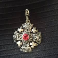 vintage silver crusader cross pendant